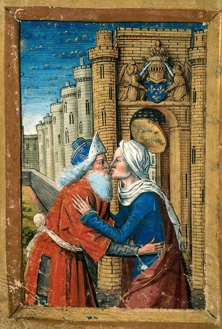 """""""L'incontro di Gioacchino e Anna alla Porta Aurea"""", miniatura tratta da Libro d'Ore (fine XV secolo), Bibliothèque municipale, Carpentras."""