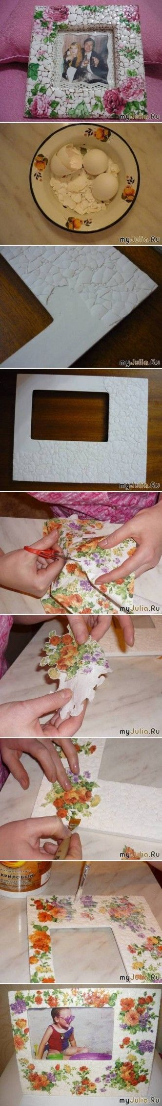 DIY Eggshell Mosaic Picture Frame DIY Projects