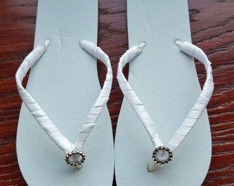 Items similar to Wedding shoes low heel/FLAT flip flops, AQUA Rustic chic beach wedding flip flops, bridal flip flops, spa blue weekend wedding, bride gift on Etsy