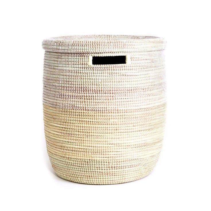 Handmade Vanilla Dipped White Laundry Basket Hamper