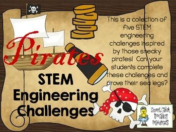 STEM Engineering Challenge Pack ~ ARGH! Pirate Challenges  $ Pirate Ship Challenge Create a Pirate Challenge Puff Rowboat Challenge Gold Coin Cannon Challenge Waterproof Treasure Chest Challenge