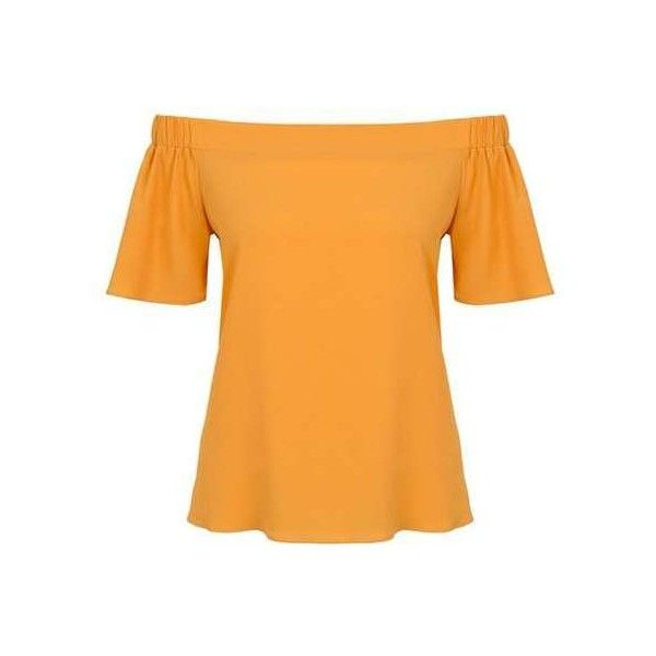 **Quiz Yellow Bardot Dip Hem Top ($22) ❤ liked on Polyvore featuring tops, orange top, dorothy perkins, dorothy perkins tops and yellow top