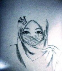 lukisan kartun muslimah cantik cute pinterest muslim