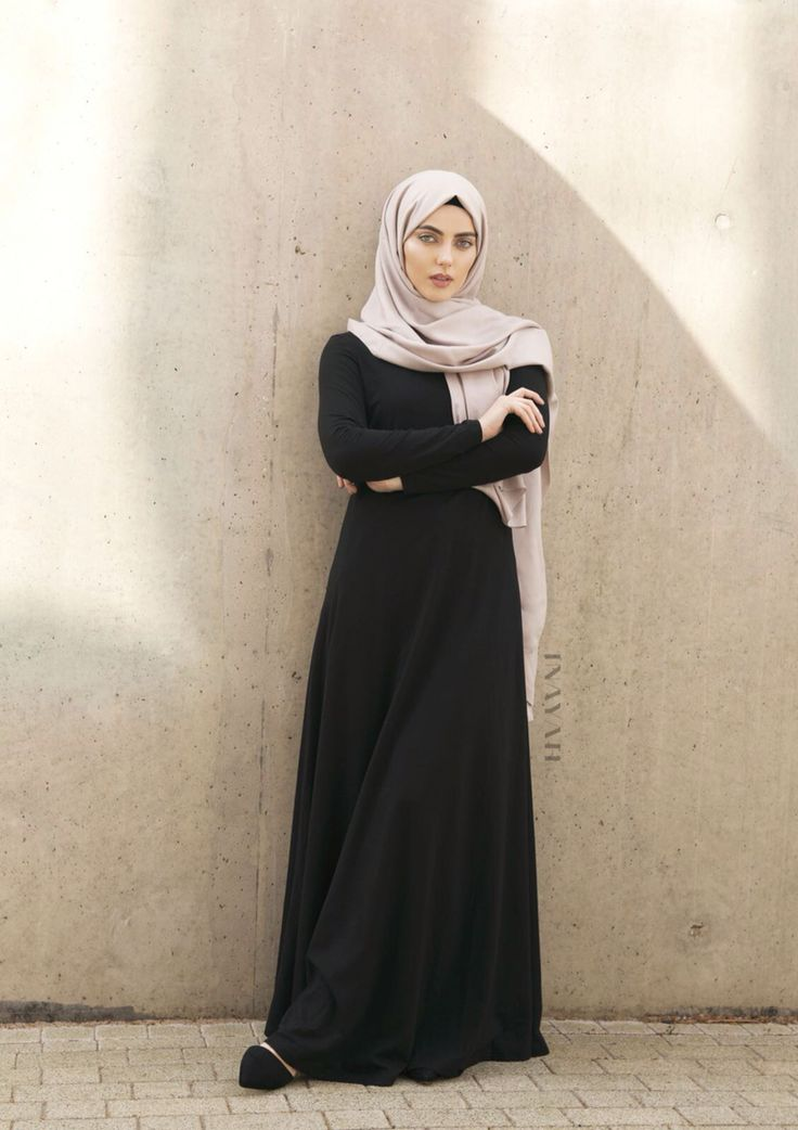 INAYAH | Comfort and clever construction are a mainstay for everyday styling - Black #Abaya with Flare + Grey Rayon #Hijab - www.inayah.co