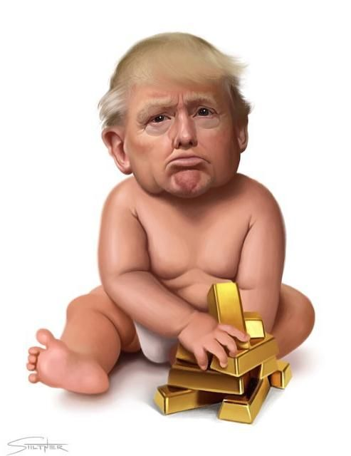 I had to paint what I picture every time I see Donald Trump. A spoiled, little, pouting baby. --Andrew Stiltner