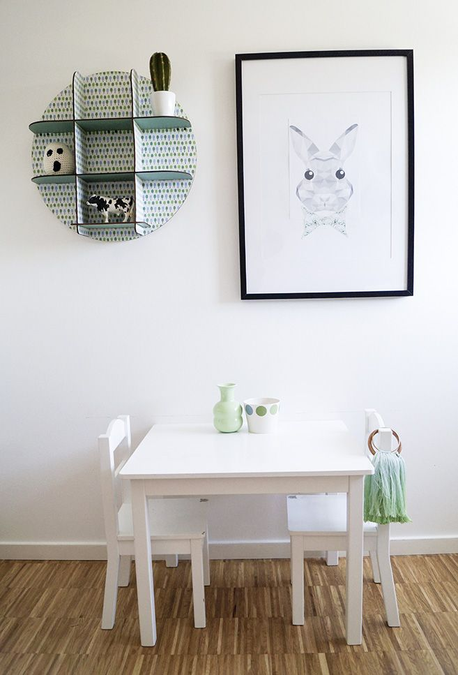Kidsroom, table, rabbit poster, white, black, green, scandinavian, scandistyle, interior