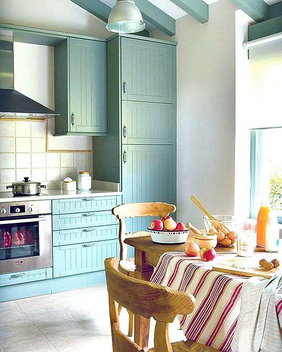 Stunning teal country kitchen with fabulous vaulted for Teal kitchen cabinets