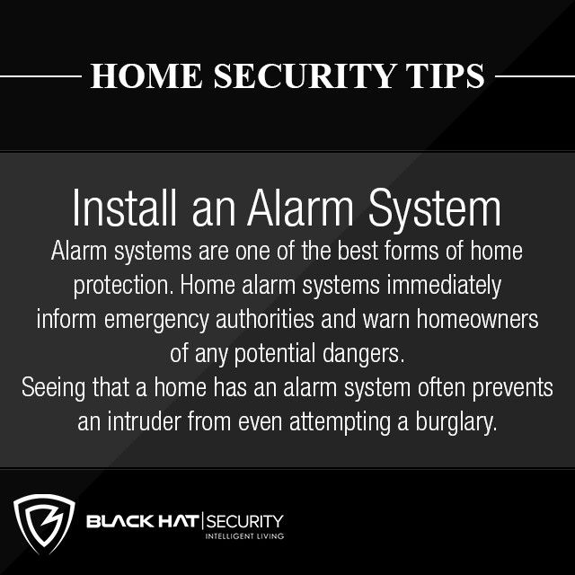 Home Security Tips.Alarm systems are one of the best forms of home protection. Home alarm systems immediately inform emergency authorities and warn homeowners of any potential dangers. Seeing that a home has an alarm system often prevents an intuder from even attempting a burglary.  .