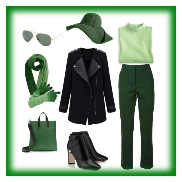 """Green & Black"" by slavka-cesnek on Polyvore featuring Blair, Tory Burch, DKNY and Ray-Ban"