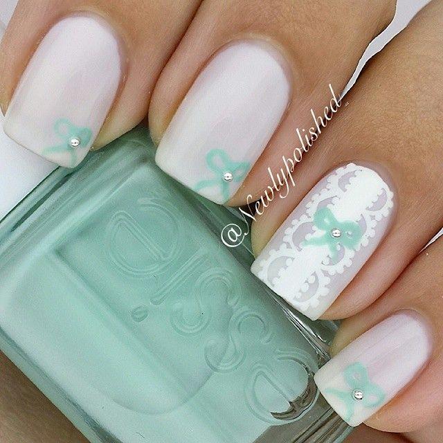 Tiffany inspired bow nails #nail #nails #nailart