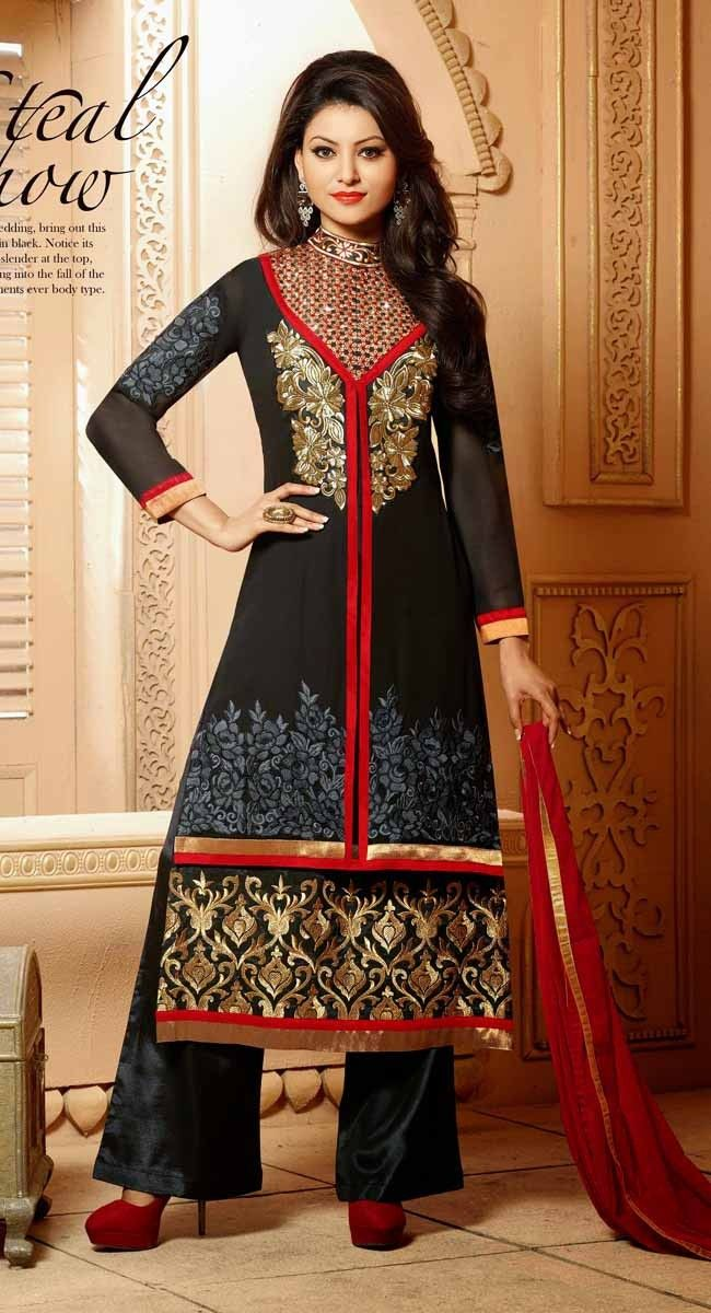 Black color Designer-Georgette Salwar Kameez
