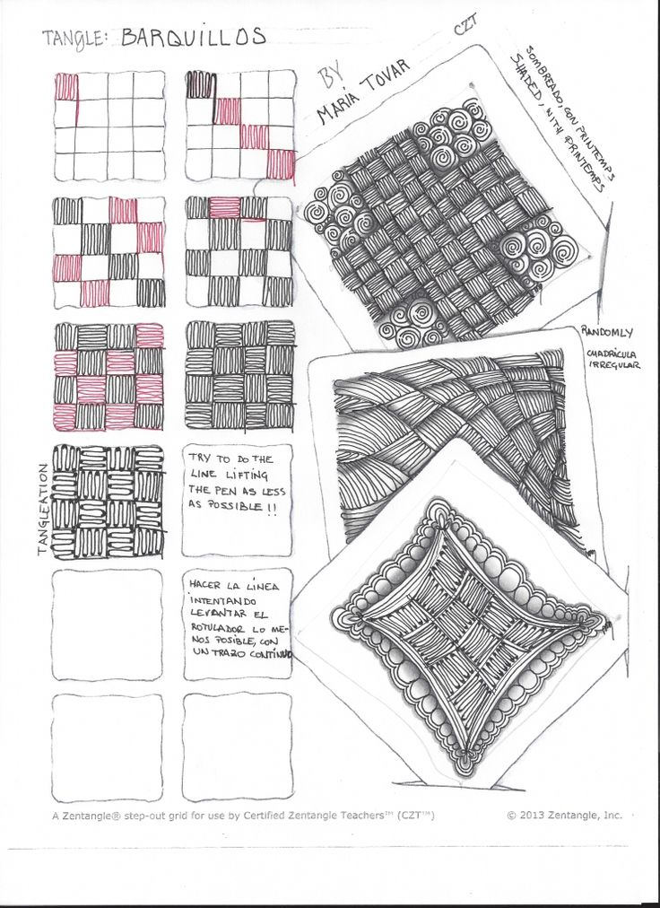 Zentangle in Spanish New tangle Waffles by Maria Tovar, CZT