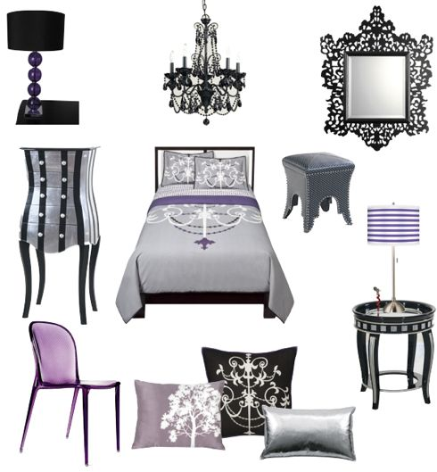 Sexy Black Silver Fuschia And Purple Bedroom Furnishings And Super