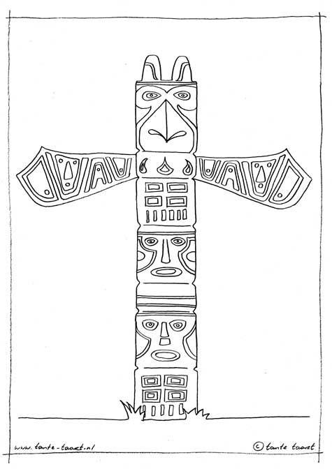 Totempaal Kleurplaat Da Vinci Indianen Totempalen