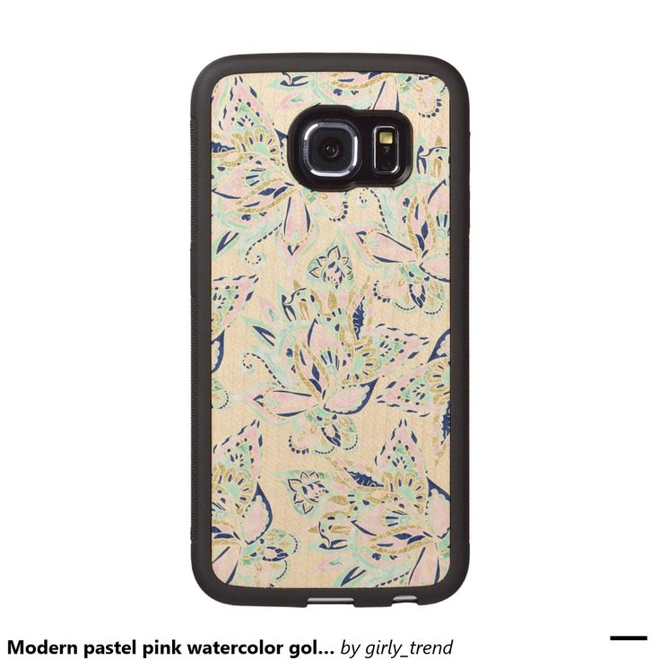 Modern pastel pink watercolor gold floral paisley wood phone case
