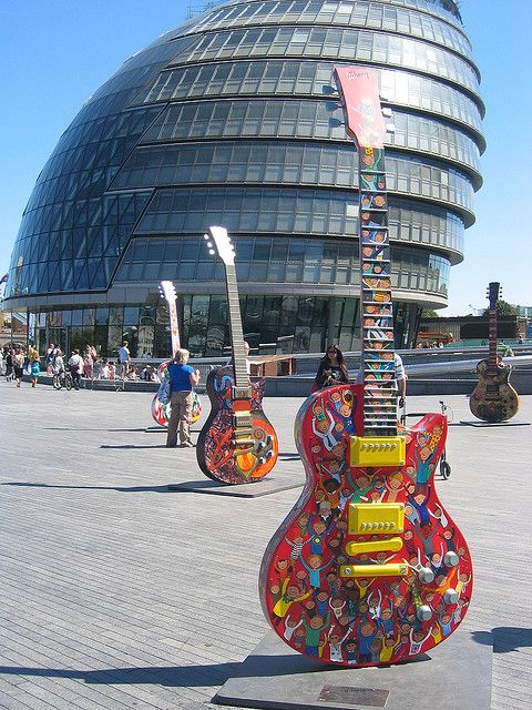 Gibson Guitar Arts building and outdoors guitar sculptures  -- http://www.pinterest.com/claxtonw/humor-pics/