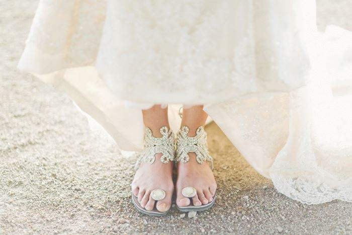 "From Portugal! At her lively Portuguese wedding, Nicole wore our gorgeous Silver Butterfly sandals! In her own words ""I danced till 4am!"" :)   Photo credit: André Teixeira of Branco Prata www.facebook.com/brancoprata www.brancoprata.com"