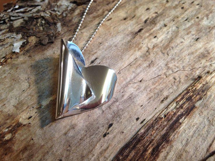 Halsband hjärta silver sølv sterling heart Tre klockor