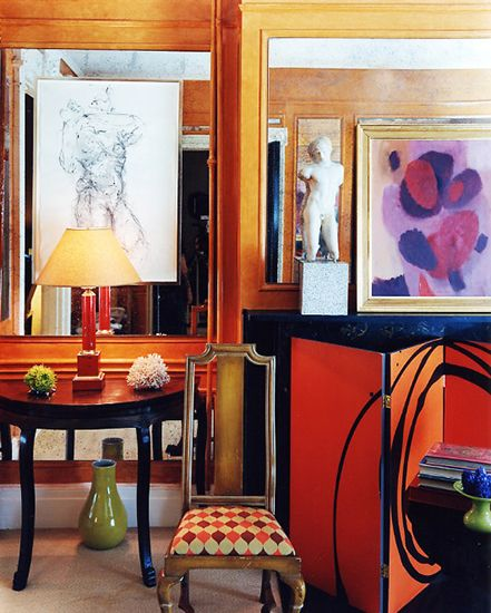 The Best Style Lessons 12 Top Designers Learned From Mom // Mother's Day, Miles Redd, living room: Living Rooms, Interiors Design, Chic Interiors, Design Art, Fireplaces Screens, Miles Redd, Paintings Fireplaces, Orange Wall, Bold Colors