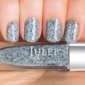 Julep Emerson (Classic with a Twist), a spring-inspired powder blue crème with black speckles