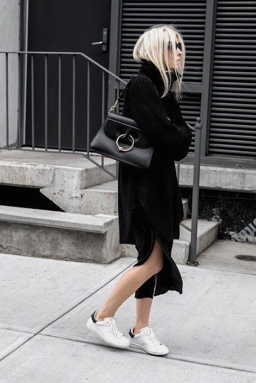 Le Fashion Blog Black Roll Neck Sweater Luxury Bag Side Slit Midi Skirt White Sneakers Via Figtny