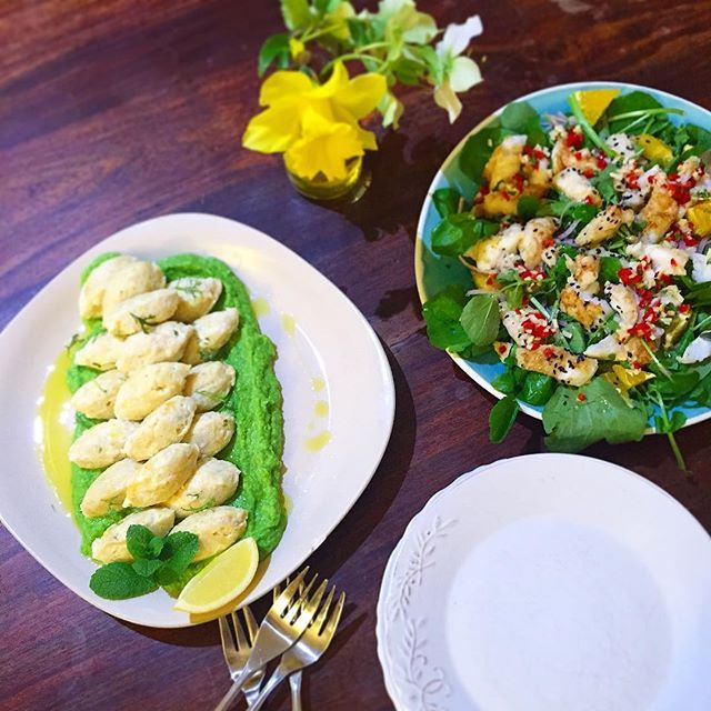 """""""Lemon and ricotta dumplings on mint and pea purée + pan fried hoki, watercress and orange salad. Photo taken by @danandchristie on Instagram, pinned via the InstaPin iOS App! http://www.instapinapp.com (09/18/2015)"""