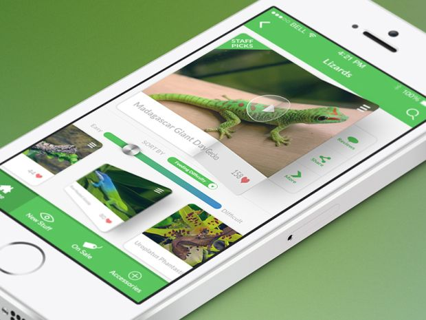 02 white iphone 5s isometric view mock up 620x465 15 Absolutely Gorgeous iOS7 App Designs