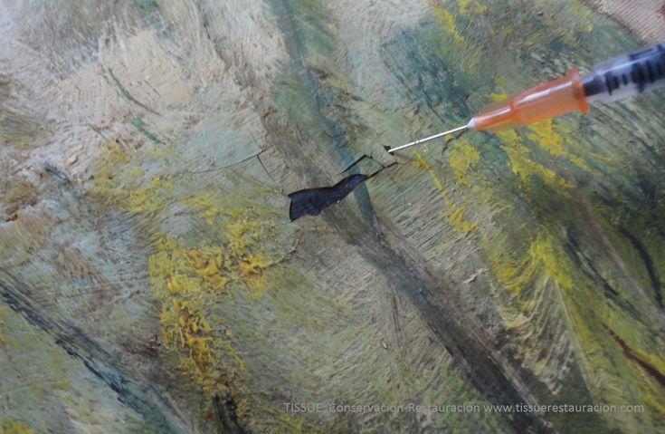Consolidació de la capa pictòrica en pintura sobre tela www.tissuerestauracion.com