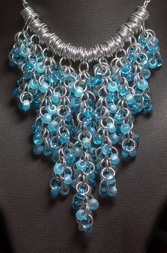 Shaggy Beaded Chainmaille Necklace Icy Blue. Bonus by Mels11