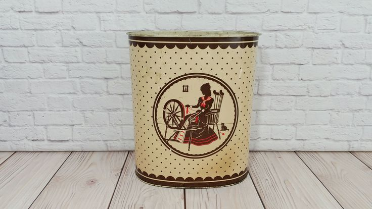 Vintage Metal Victorian Lady Spinning Weibro Trash Can Waste Basket by maliasmark on Etsy