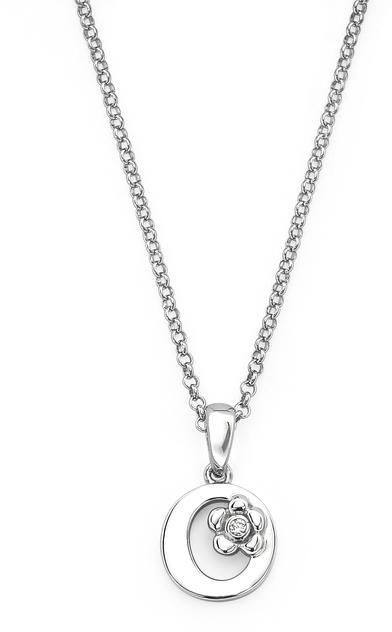 "Little Diva Diamonds Little Diva Silver Initial ""O"" Necklace with Diamond Accents for Children"
