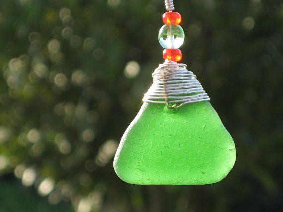 Green Triangle Sea Glass Pendant  Glass Beads Fashion by TRIKIMIA