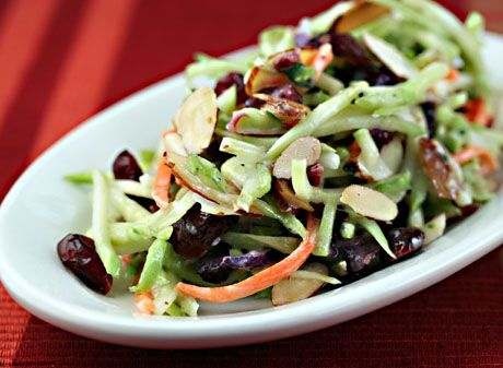Recipe for broccoli slaw salad with cranberries, almonds, and yogurt dressing {The Perfect Pantry}