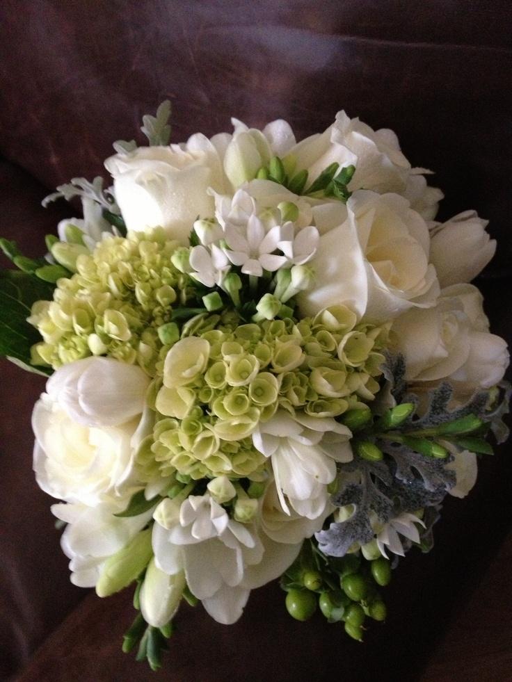 Wedding flowers White bouquet-  hydrangeas, roses, freesia, bouvardia