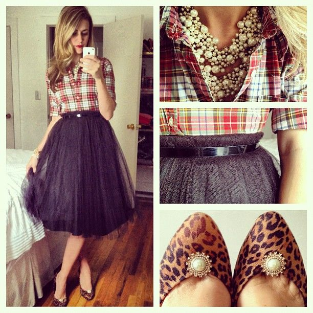 Black tulle skirt, plaid blouse, and leopard pumps   photo by karlareed, Instagram