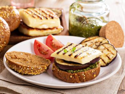 Grilled Eggplant Burger with Pesto Sauce