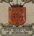 Saher de Quincy (I), or Quency, was the tenant of Anselm de Chokes at Long Buckby, co. Northhampton in (probably) 1124 - 1129. He presumably derived the Quincy or Quency name from Cuinchy, near Béthune, on the border of Artois and Flanders, which is less than 10 miles from Chocques, the original home of his Northhampton overlord. It is probable that name of Saher, or Saier  is a corruption either from the Hebrew Zair, affliction; or the Saxon Segher, Sigher, or Seagar, a Conqueror.