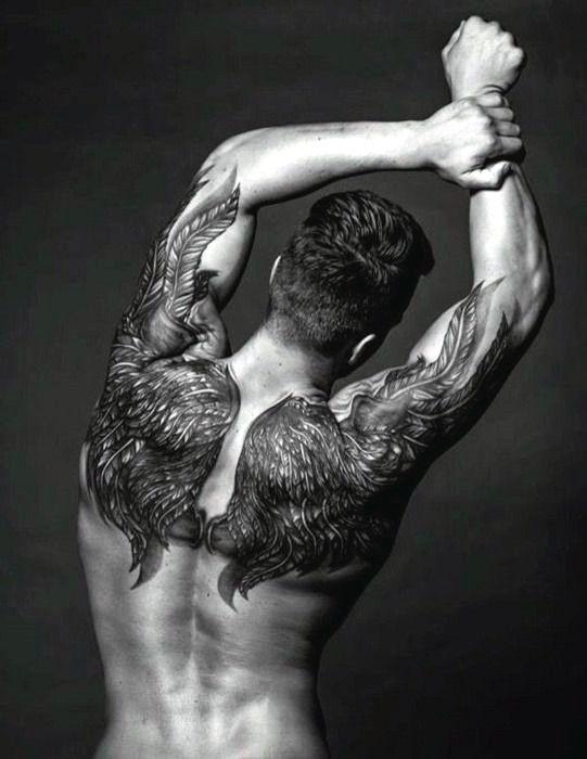 Full Wings Tattoo On Back For Men