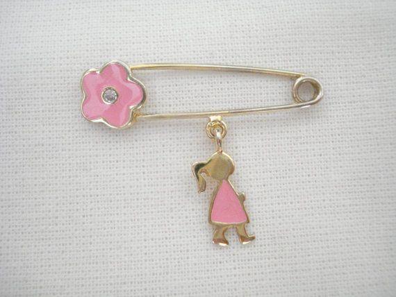 Baby girl pin Baby safety pin Pink flower pin Stroller by Poppyg