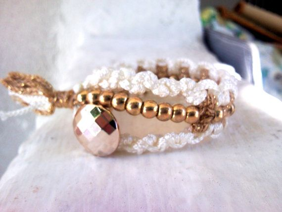 macrame friendship bracelet with metallic gold beads by INTIMEHANDMADE Nicol michael by Georgia Kanellopoulou  https://www.facebook.com/NicolmichaelbyGeorgiaKanellopoulou, €14.00