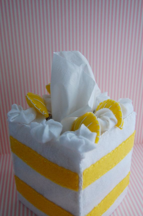 Tissue cozy Decoden tissue box cake decoden lemon by Sweetdeesignz, $25.00