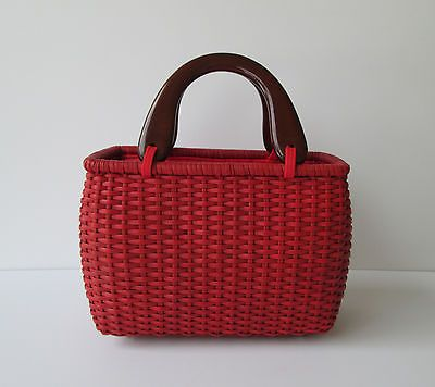 Putu by J Maclear Womens Red Woven Wicker Boxy Bag Handbag with Frog Pull | eBay