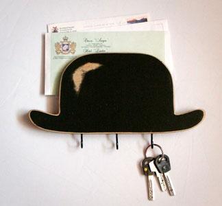 Bowler Hat Organizer.Keys Hooks, Wall Organic, Bowler Hats, Hats Organic, Wood Shelf, Organizers, Wood Shelves, Wooden Walls, Tops Hats