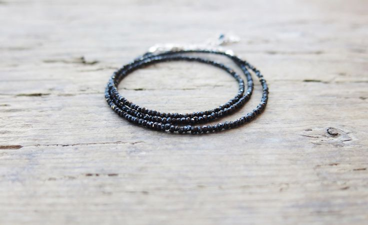 Minimalist black spinel necklace. Black spinel triple wrap bracelet. by MarisaBecca on Etsy https://www.etsy.com/listing/234012005/minimalist-black-spinel-necklace-black