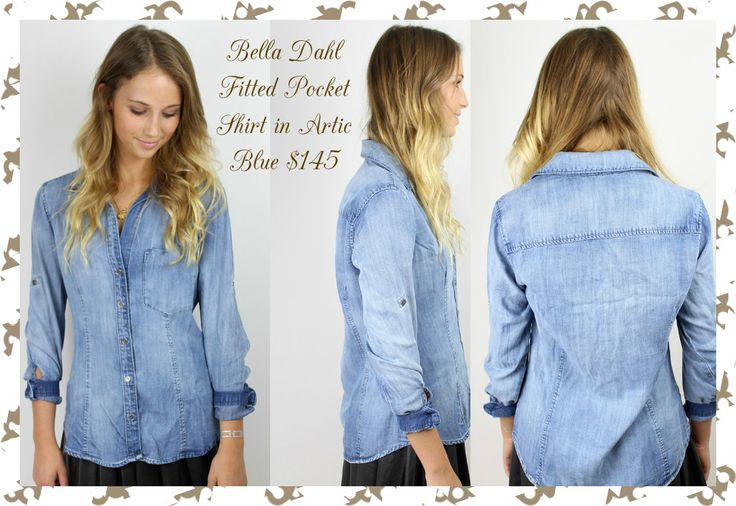 Bella Dahl Fitted Pocket Shirt in Arctic Blue:We're digging the western vibe of this button down by Bella Dahl. Collar. Buttons along front. Single front pocket. Long sleeves with button at cuff. Roll sleeves up with button + tab closure. Slight shirt tail hem. Exposed seams. The medium faded wash works with so many different styles. Try it tucked into a pencil skirt for a business casual look. •100% Tencel •Machine wash cold; Tumble dry low •Made in USA Available size S n M