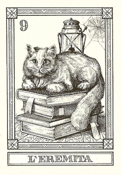 """L'Eremita"" -- Gatti, by Osvaldo Menegazzi. The deck of 22 tarot cards was published by Il Meneghello in Italy in 1990."