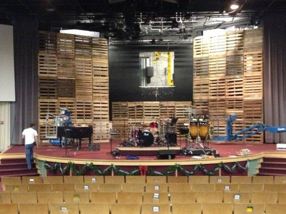 towers of pallets church stage design ideas