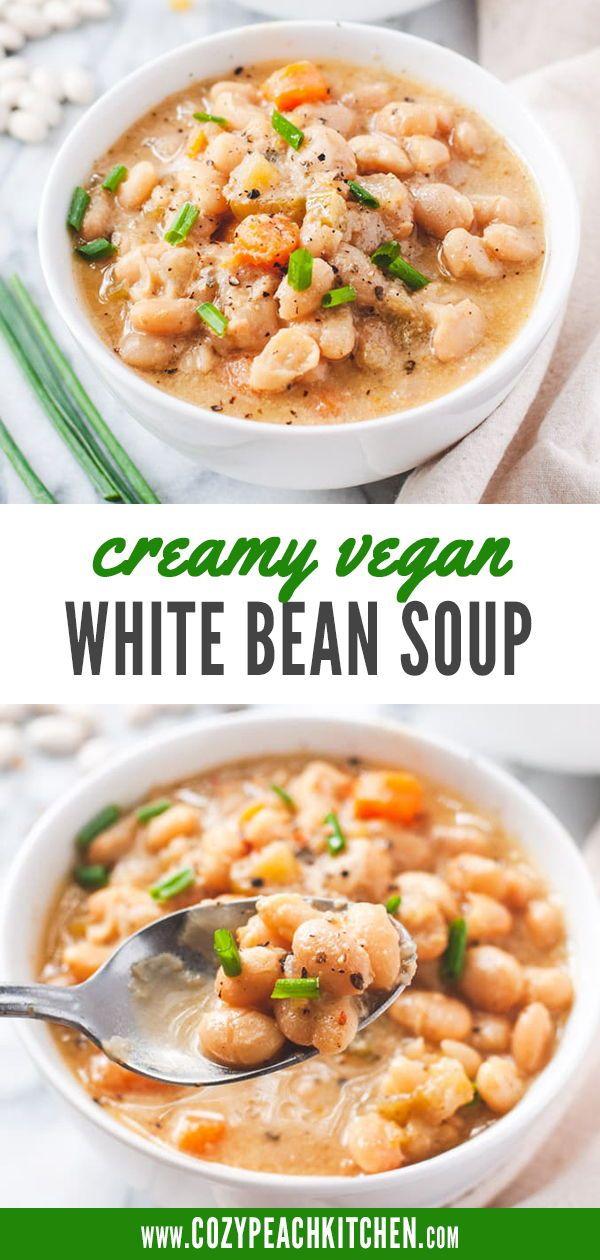 Creamy Vegan White Bean Soup Instant Pot Recipe Recipe In 2020 White Bean Soup Easy Bean Recipes Bean Recipes