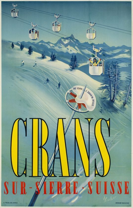 """Crans-sur-Sierre, Suisse  (Kocher Ronald / 1951) Rare skiing poster for the famous Alpin resort """"Crans-Montana"""" in the canton of Valais."""