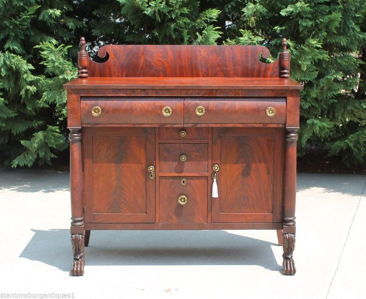 American Empire Flamed Mahogany Sideboard w Cellarette Drawer Hairy Paw  Feet  Empire. 70 best Classic American Empire Furniture images on Pinterest